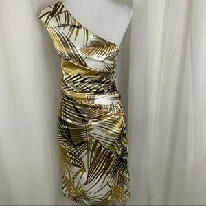 Maggy London Metallic Tropical side rouched 6